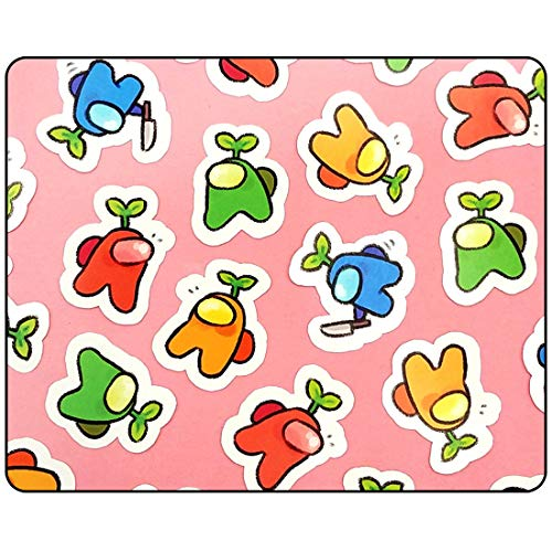 Deedee A_mong Us Mouse Pad-Pink Cute Multicoloured A_mong Us Mouse Pad Waterproof Rubber Anti-Slip Gaming MousePads for Girls Kids Teens11.81 x 9.84 x 0.12 Inch