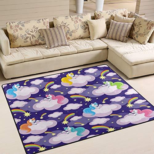 Tenboya Teppich Einhörner Fee Kometen bunt Regenbogen Esszimmerteppich Schlafzimmer Bodenmatte 120 cm x 160 cm, Textil, multi, 150x220cm (5' x 7'feet)