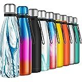 Borraccia Termica 500ml, Senza BPA, Bottiglia Acqua in Acciaio Inox Sottovuoto a Doppia Parete, per Campeggio di Sport Esterni Escursionismo Escursioni in Bicicletta, Blu Scuro