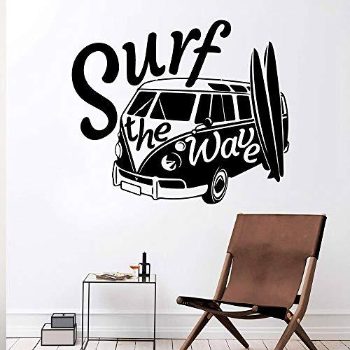 Calcomanía de vinilo surf playa ondulada deportes extremos tabla de surf mini bus coche etiqueta de la pared habitación de los niños sala de estar decoración del hogar arte mural cartel