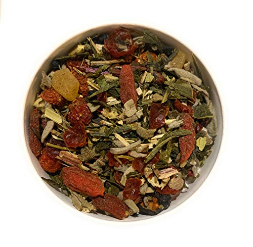 Flu Fighter Echinacea Wellness Tea. Fights colds and flu, tastes and smells wonderful. A great tasting herbal winter brew. 50g pack of organic luxury loose tea