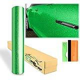 12'x60' (1FTx5FT) Gloss Glitter Green High Glossy Sparkle Metallic Car Vinyl Wrap Sticker Decal Film Sheet Bubble Free Air Release Technology Free Tool Kit