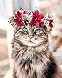 Gato diamante pintura flor bordado Animal Cruz puntada Kit imagen mosaico diamante hecho a mano pintura A12 50x70cm