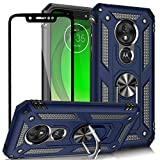 AUPAI Moto G7 Play Cover with Glass Screen Protector Heavy Duty 15ft Drop Tested Shockproof Case with Magnetic Ring Kickstand,Protective Phone Cover for Moto G7 Play Blue