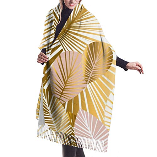 Irener Bufanda de mantón, Gold And Pale Rose Abstract Leaves Seamless Pattern For Background Womens Scarf Large Long Blanket Check Wrap Shawl With Tassel