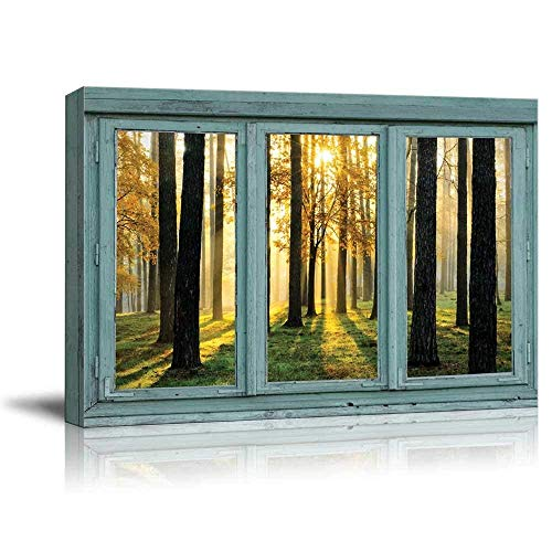 wall26 Vintage Teal Window Looking Out Into The Forest and The Sun Peeking Through The Trees - Canvas Art Home Art - 24x36 inches