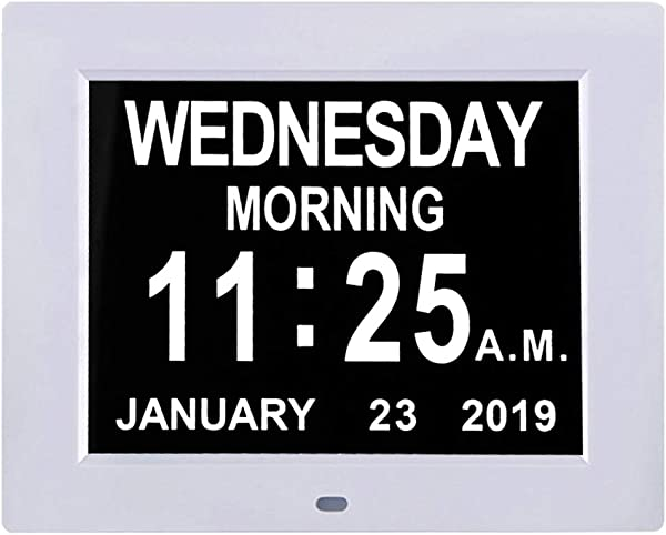 TMC Newest Version 8 Digital Calendar Day Clock Extra Large Impaired Vision Memory Loss Clock With Battery Backup 12 Alarm Options White1