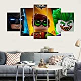 The Lego Batman Movie Joker Robin Batman 5 Piece Canvas Wall Painting Living Room Bedroom Home Decor Art Picture Movie Poster(NO Frame size 1)