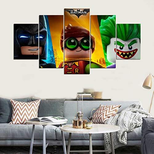The Lego Batman Movie Joker Robin Batman 5 unidades lienzo pintura de la pared sala de estar dormitorio decoración del hogar arte imagen película cartel(size 1)