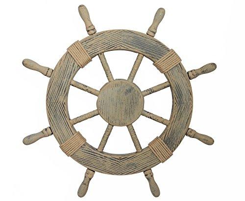 Nautical Decor 24' Wood Look Pirate's Ship Wheel Marine Wall Decor