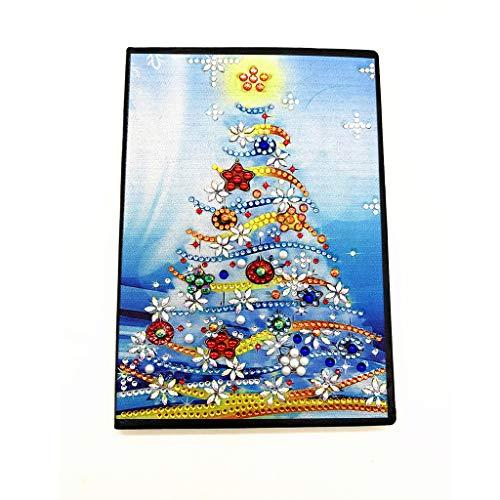 5D diamond pintura de diamantes cuadernos forrado de notas A5 cuadernos tapa dura diarios secretos con diamantes de colores, bloc de escritura cuaderno navidad árbol de Navidad, 60 hojas, 120 páginas