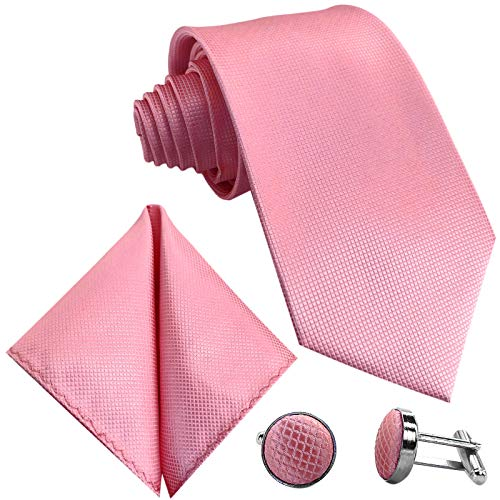 GASSANI 10cm Breite Herrenkrawatte Krawattenset Rosane Karo-Muster, Schmale Skinny Hochzeitskrawatte Herrenschlips Einstecktuch Manschettenknöpfe
