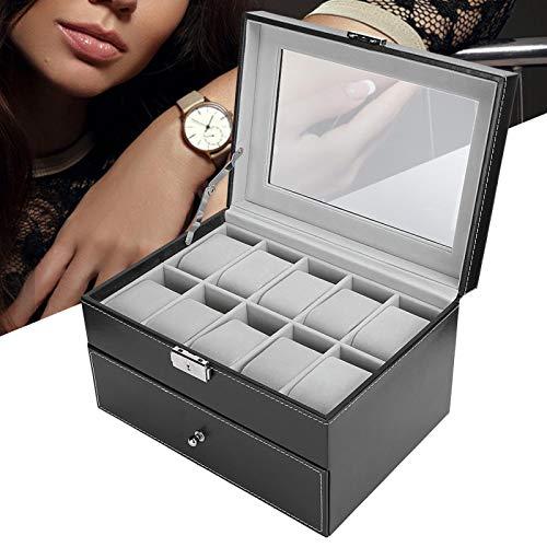 Caja de reloj, caja de almacenamiento de reloj de 20 rejillas de madera negra de doble capa + cuero de PU, escritorio para tienda de relojes para el hogar