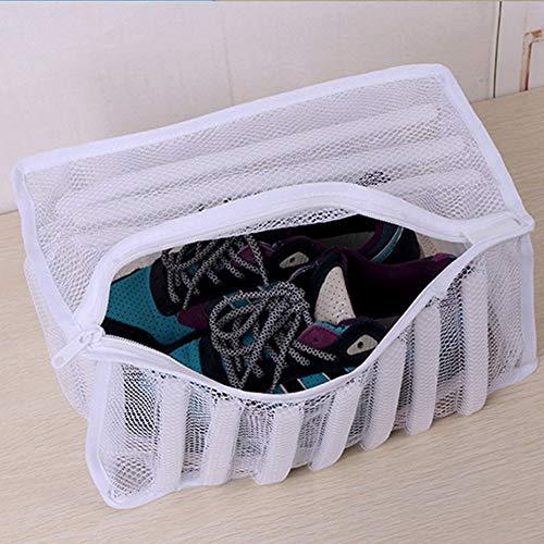 Wasserij Schoenen Mesh Tas, Sneaker Trainer Droger Waszak Hoesje Schoenen Beschermende Organizer voor Wasmachine met Duurzame Rits free size Kleur: wit