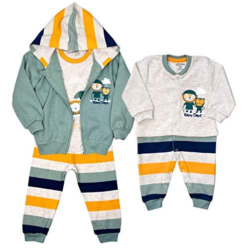 AZIZ BEBE Jungen Anzug Babyanzug Overall Strampler Freizeitanzug Trainingsanzug NEUGEBOREN (80-86, Set (S 1025))