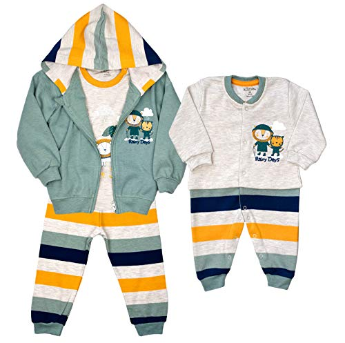 AZIZ BEBE Jungen Anzug Babyanzug Overall Strampler Freizeitanzug Trainingsanzug NEUGEBOREN (62-68, Overall (O 1006))