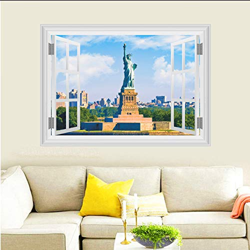Asade United States New York Statue of Liberty Wall Stickers Home Decor Living Room 3D Window Scenery Wall Decals Poster DIY Mural