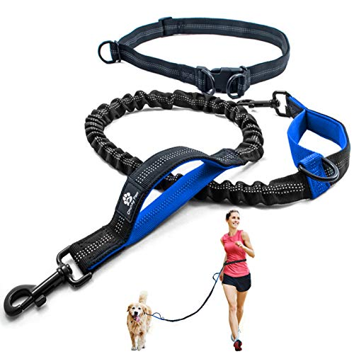 CHUNKY PAW Hands Free Dog Leash for Running Walking HikingTraining Jogging for Medium and Large Dogs up to 150 lbs Durable Dual Handle Waist Leash with Reflective Bungee and Adjustable Waist Belt
