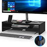 1home Wood Monitor Stand Riser, 2 Tiers Desk TV Shelf with Cellphone Holder, Ergonomic Laptop Printer Stand with Cable Management for Laptop, Computer, Notebook, iMac, PC, 21.3 inches, Black