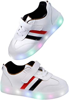 Hopscotch Boys and Girls Artificial PU LED Shoes with Stripes in White Color