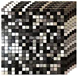5 Sheets Self-Adhesive Aluminum Mosaic Peel and Stick Metal Tiles 3D Wall Sticker Panel Backsplash for Kitchen & Bathroom (12