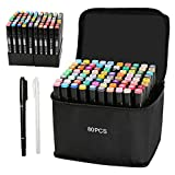 OUSHGO 80 Colors Alcohol Markers Pen Set Dual Tip Markers Twin for Teens Adult Coloring Book Artist Permanent Markers Drawing Art Graphic Marker and Highlighting Illustration (Black Shell)