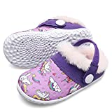 Toddler Boys Girls Rubber Sole Indoor House Slippers Lightweight Winter Shoes for Kids Purple Toddler Size 9.5-10