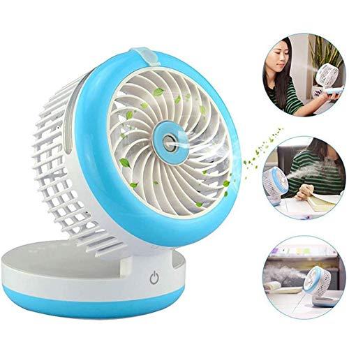 QBCNM Mini Plegable Humidificador del Ventilador De Aire Portátil Siguiente Servicio: Los Aficionados De Pulverización USB Recargable Escritorio De Enfriamiento del Ventilador De La Bruma,Azul