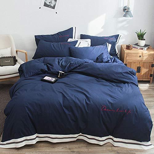 Yixing 4-delige katoenen lakens dekbedovertrek kussensloop beddengoed AB versie Effen kleur streep breed gerande gemakkelijk zorg