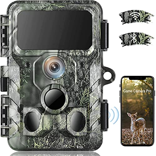 4K Native WiFi Trail Camera - 30MP Wildlife Camera with Night Vision Motion Activated Hunting Camera 120° Detection Waterproof IP66 Trail Cam for Wildlife Monitoring Discovery