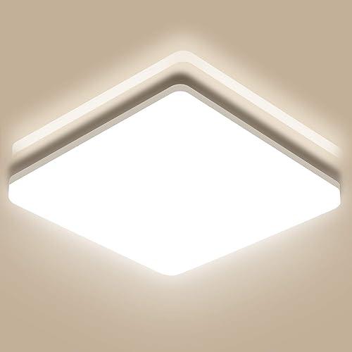 Oeegoo 24W Plafonnier LED, 2400LM Lampe de Plafond, Eclairage Puissant IP44 Étanche, Plafonnier Carré 33 x 4,8 CM, Lu...
