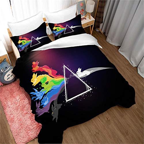 Goplnma - Parure de lit Pokémon en microfibre - Parure de lit pour enfant 3D - Multicolore - Housse de couette douce et confortable pour toutes les saisons (140 x 210 cm)