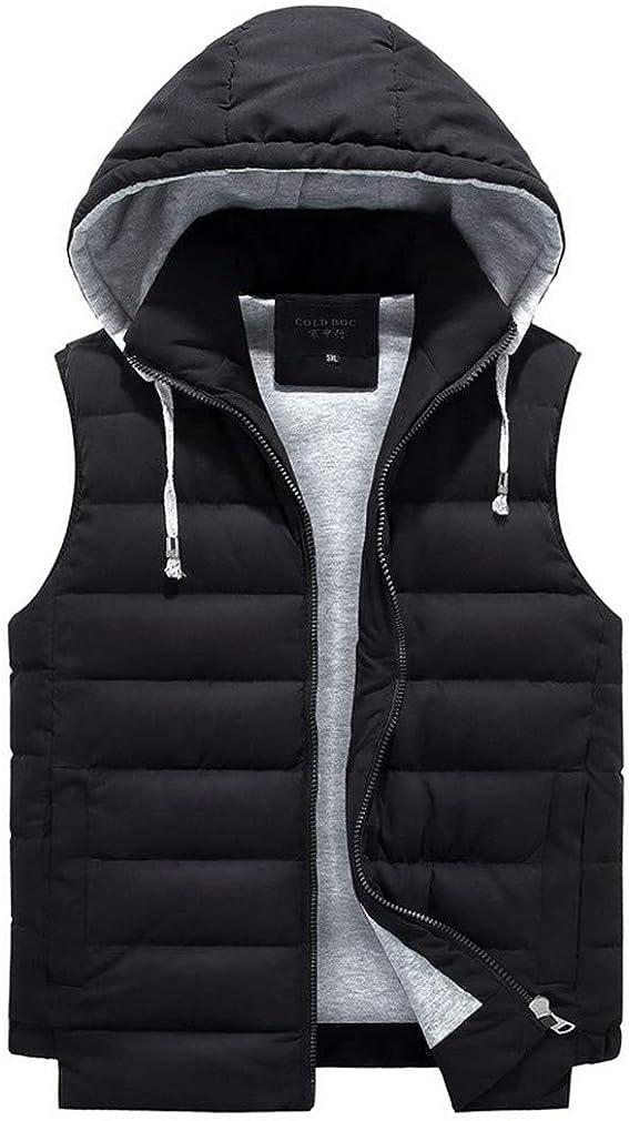 DFLYHLH Men Parka Hooded Vest Thick Warm Casual Windbreaker Baggy Padded Outerwear Waistcoat Sleeveless Jacket Black Vest 8XL