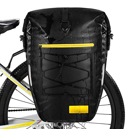 Gonex Upgrade Bicycle Panniers Waterproof Bike Bag Pannier Rear Rack 27L for Cycling Bicycling Traveling Riding Black, 2 Packs
