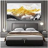 Impresiones en lienzo Golden Snow Mountain Pinturas en lienzo abstractas Cartel impreso Pintura al óleo para sala de estar Hogar moderno 40x80cm Sin marco