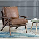 CIMOTA Faux Leather Accent Chair Recliner Mid Century Modern Armchair Comfy Lounge Chair Indoor Arm Chair for Bedroom Living Room, Retro Brown PU