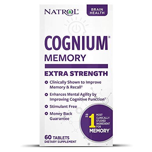 Natrol Cognium Extra Strength Tablets, Brain Health, Keeps Memory Strong, #1 Clinically Studied, Shown to Improve Memory and Recall, Enhances Mental Agility, Safe and Stimulant Free, 200mg, 60 Count