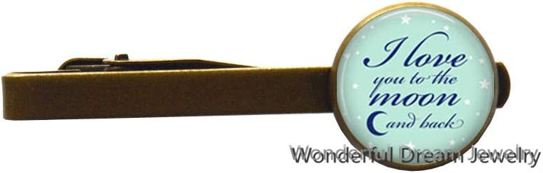 I Love You to The Moon and Back Tie Clip,Inspirational Quote Tie Clip, Mother's Day,Quote Tie Clip, Gift for mom Tie Clip,PU102 (Brass)