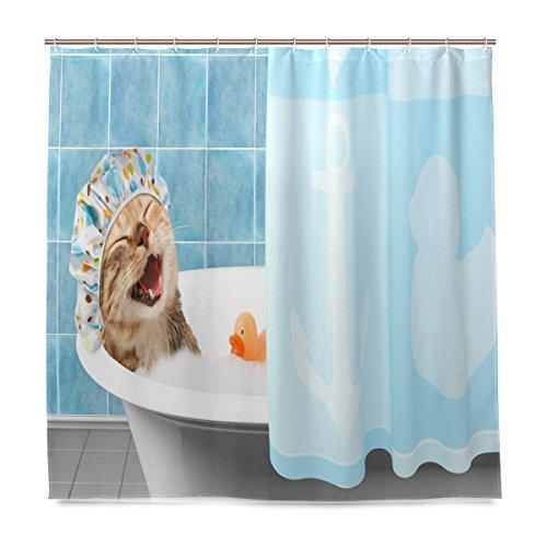 ShineSnow Badezimmer Duschvorhang Cat aufnehmen Bad mit Robustes Hundespielzeug Ente Design Stoff Bad Vorhänge Schimmelresistent Wasserdicht Badezimmer mit 12Haken 183,0cm x183,0cm