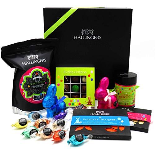 Hallingers Oster-Geschenk-Set Schokolade, Kaffee, Ostereier und Osterhasen für Ostern in edler Box (1.238g) - Easter Big Box Green (Genussbox) - zu Ostern StayHome