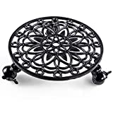 Skelang Cast Iron Plant Stand, Planter Casters with Lock Wheel, Plant Pallet Caddy, Plant Pot Dolly, Rolling Tray, Moving Plant Pot Saucer, Diameter 11.5'