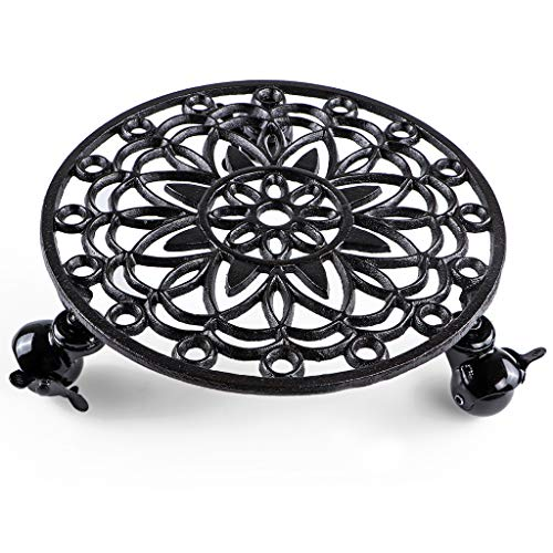"""Skelang Cast Iron Plant Stand, Planter Casters with Lock Wheel, Plant Pallet Caddy, Plant Pot Dolly, Rolling Tray, Moving Plant Pot Saucer, Diameter 11.5"""""""