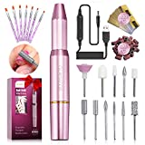 Portable Electric Nail Drill Kit,GLAMADOR Professional Manicure Pedicure Acrylic Nail Kit,USB...