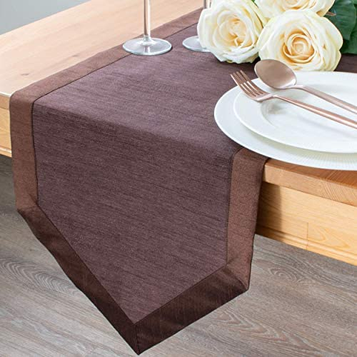 The White Petals Dark Brown Kitchen Table Runners Faux Silk V End Border 14x72 inch Pack of product image