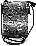 styleBREAKER Damen Mini Bag Umhängetasche in Schlangen Optik, Schultertasche, Handtasche, Tasche 02012305, Farbe:Schwarz-Grau
