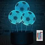 Soyerras lampada 3d Lampada da illusione ottica 3D Lampada da notte a LED, Lampada da bambino per lampada da tavolo da scrivania 7 colori LED luci scultura d'arte con cavo USB e telecomando (calcio)