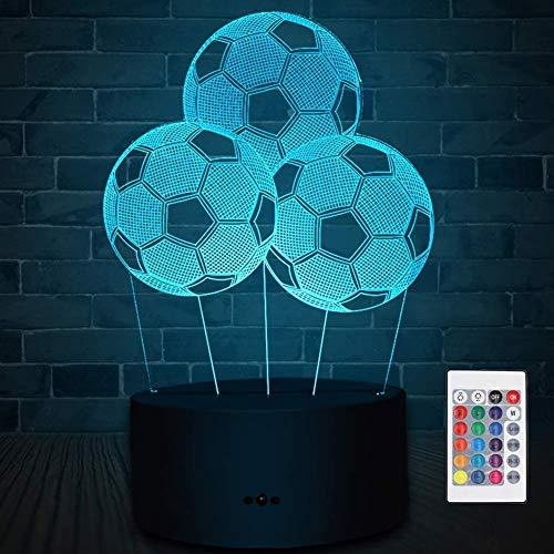 Soyerras Lámpara 3D Lámpara de ilusión óptica 3D Lámpara de noche LED Lámpara de mesa de escritorio 7 colores LED luces escultura arte con cable USB y mando a distancia (fútbol)