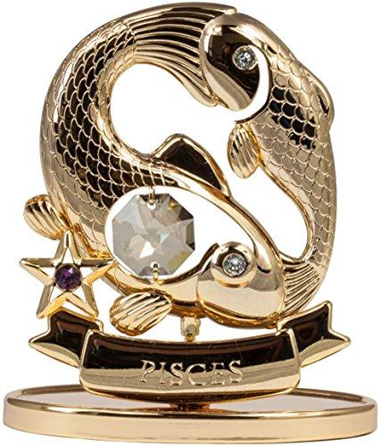 Rieser Interieur Sternzeichen Fisch Figur mit Kristallen goldfarben Made with Swarovski Elements