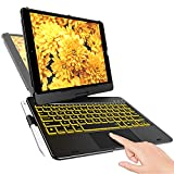 iPad Keyboard Case for 10.2-inch iPad 8th Generation (2020), 7th Gen, Air 3, Pro 10.5 in 11 Colors - 10 Color Backlight, 7 Modes, 360° Rotatable, Slim Protective Cover, Apple Pencil Holder (Black)