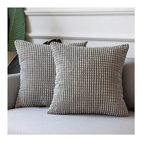 Azume - Juego de 2 fundas de almohada de color gris claro para sofá, cómodas almohadas decorativas suaves para salón, 45,7 x 45,7 cm, cómodas fundas de almohada de pana para...